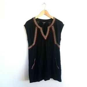 Lucky Brand Embroidered Beaded Knit Tunic SZ Small